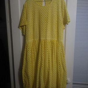 Lane Bryant Yellow Eyelet dress